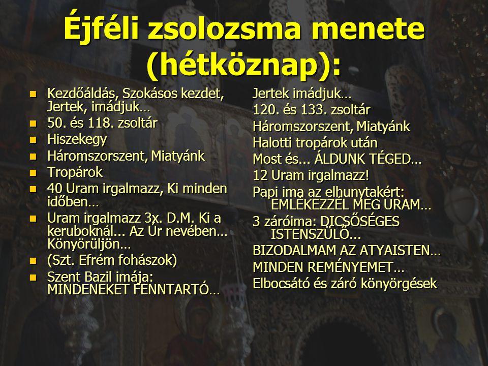 Éjféli zsolozsma menete (hétköznap):