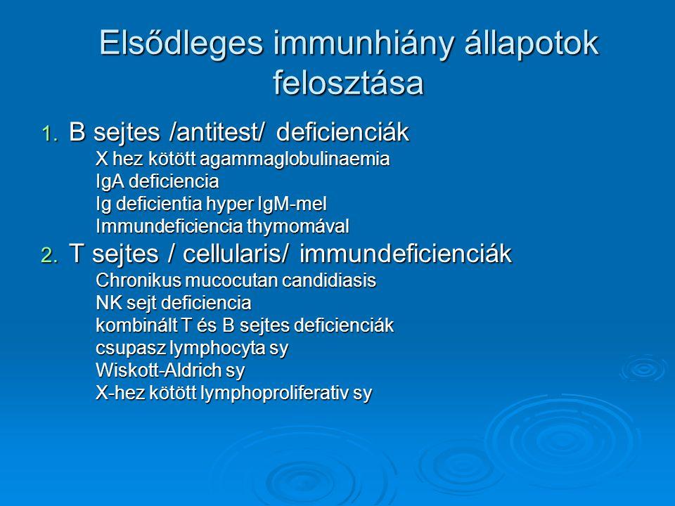 Elsődleges immunhiány állapotok felosztása