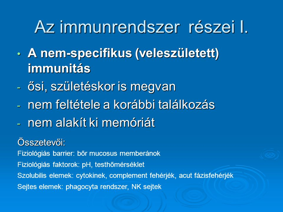 Az immunrendszer részei I.