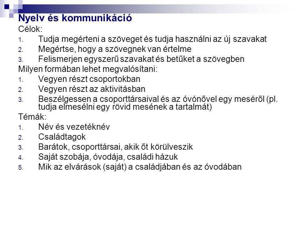Nyelv és kommunikáció Célok: