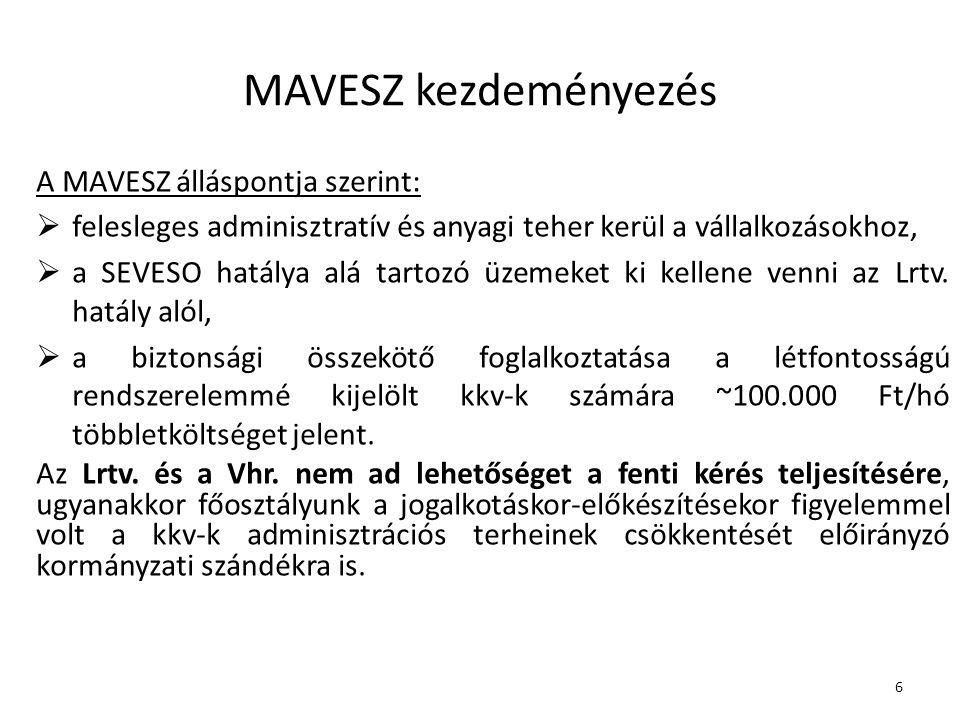 MAVESZ kezdeményezés A MAVESZ álláspontja szerint: