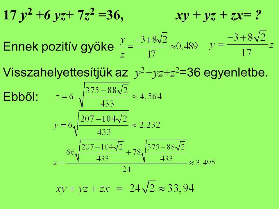 17 y2 +6 yz+ 7z2 =36, xy + yz + zx= Ennek pozitív gyöke. Visszahelyettesítjük az y2+yz+z2=36 egyenletbe.