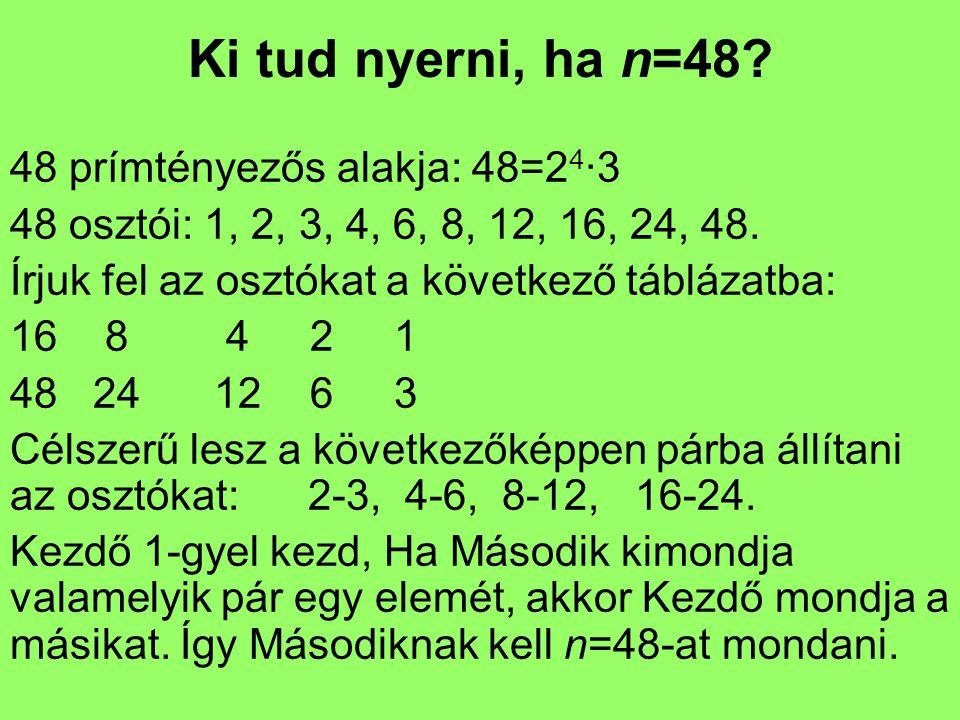 Ki tud nyerni, ha n=48 48 prímtényezős alakja: 48=24·3