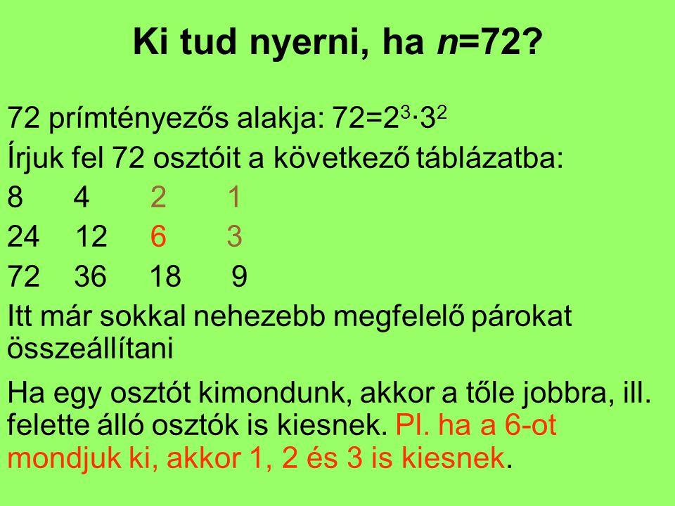 Ki tud nyerni, ha n=72 72 prímtényezős alakja: 72=23·32