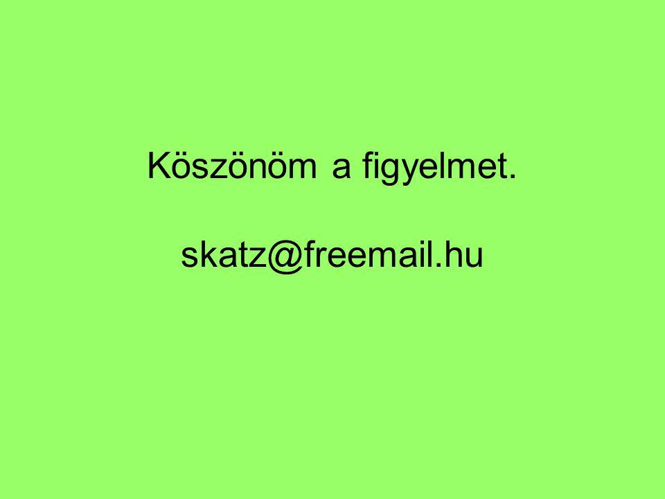Köszönöm a figyelmet. skatz@freemail.hu