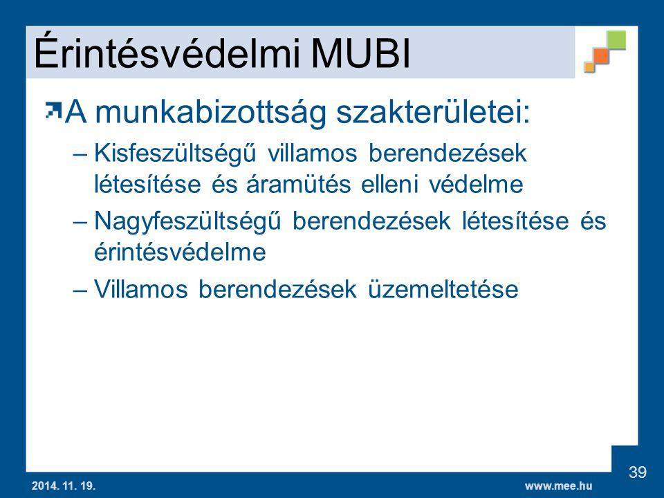 Érintésvédelmi MUBI A munkabizottság szakterületei: