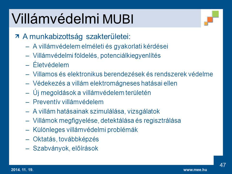 Villámvédelmi MUBI A munkabizottság szakterületei: