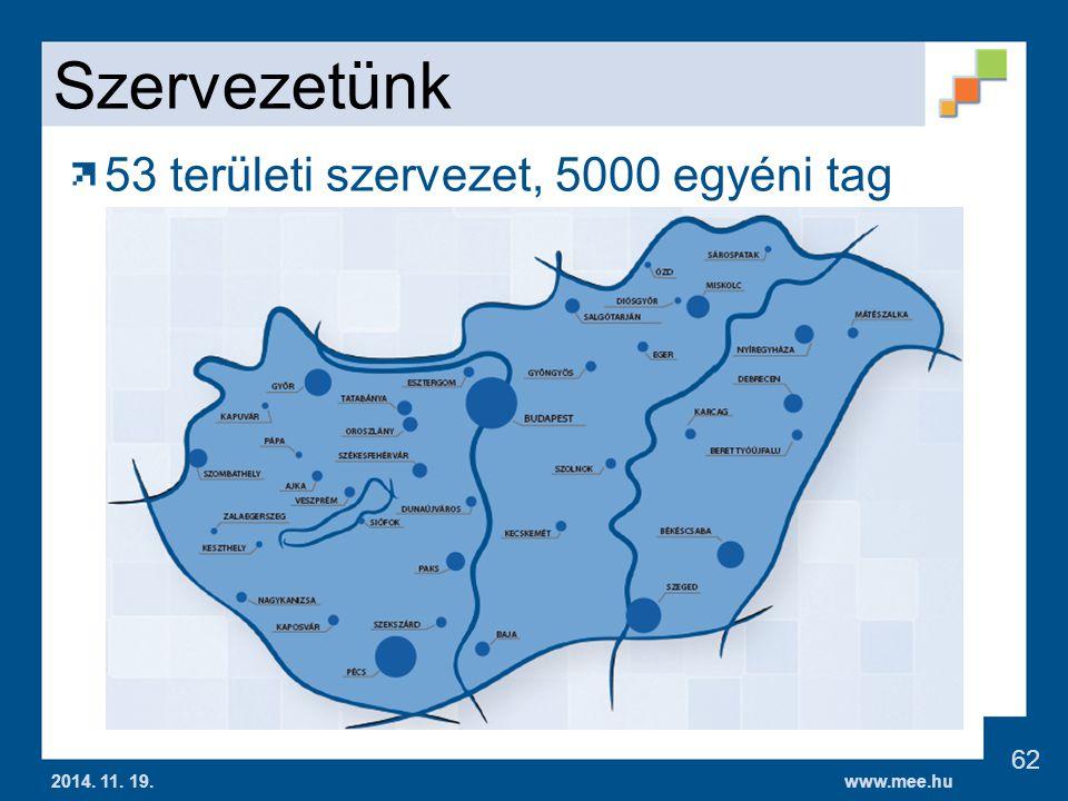Szervezetünk 53 területi szervezet, 5000 egyéni tag
