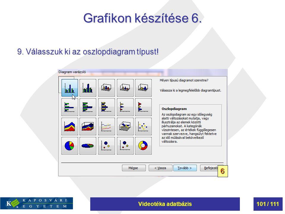 Grafikon készítése 6. 9. Válasszuk ki az oszlopdiagram típust! 6