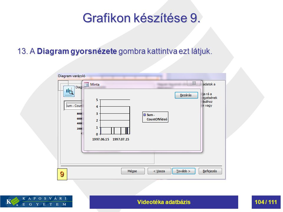 Grafikon készítése 9. 13. A Diagram gyorsnézete gombra kattintva ezt látjuk. 9