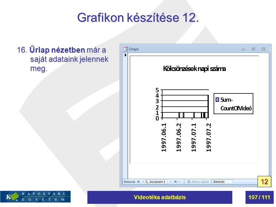Grafikon készítése 12. 16. Űrlap nézetben már a saját adataink jelennek meg. 12