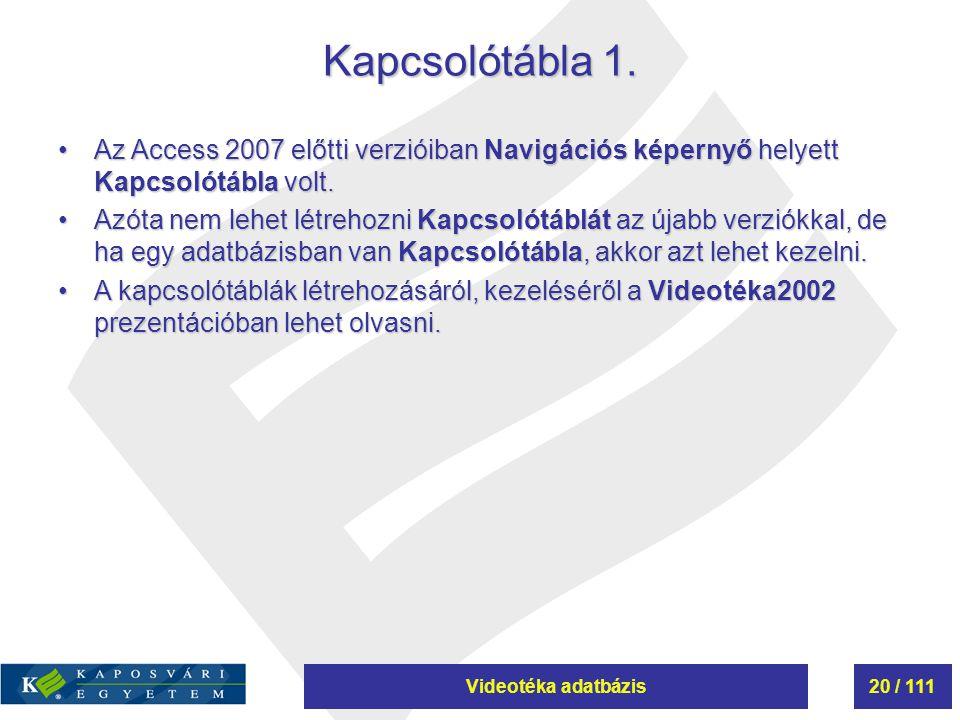 Kapcsolótábla 1. Az Access 2007 előtti verzióiban Navigációs képernyő helyett Kapcsolótábla volt.