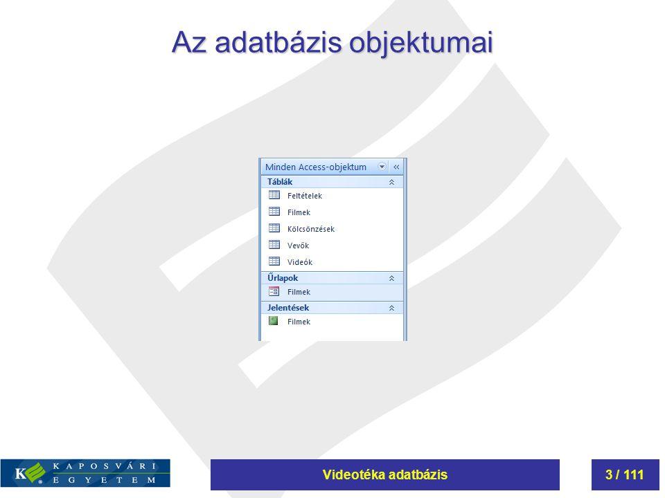 Az adatbázis objektumai