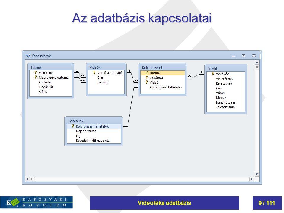Az adatbázis kapcsolatai