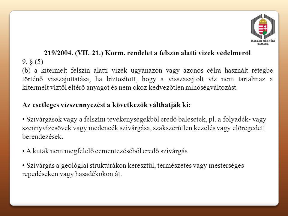 219/2004. (VII. 21.) Korm. rendelet a felszín alatti vizek védelméről