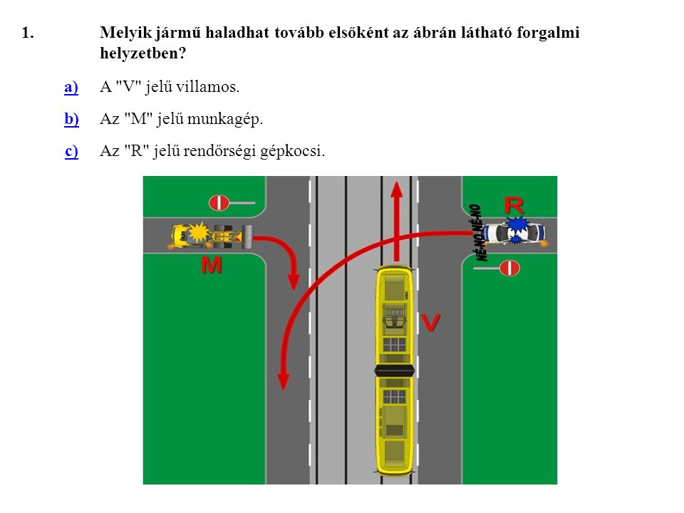 1. Melyik jármű haladhat tovább elsőként az ábrán látható forgalmi helyzetben a) A V jelű villamos.