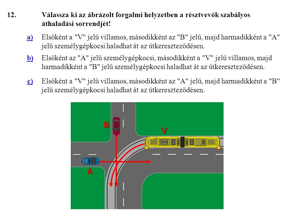 12. Válassza ki az ábrázolt forgalmi helyzetben a résztvevők szabályos áthaladási sorrendjét! a)