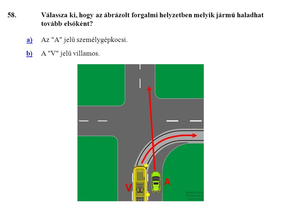 58. Válassza ki, hogy az ábrázolt forgalmi helyzetben melyik jármű haladhat tovább elsőként a) Az A jelű személygépkocsi.