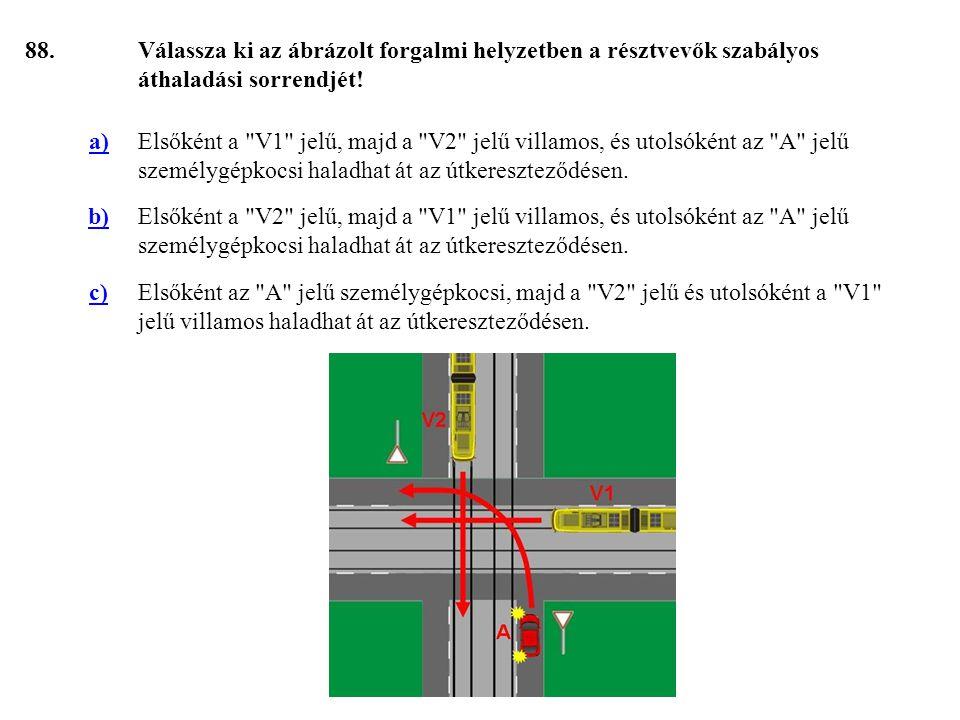 88. Válassza ki az ábrázolt forgalmi helyzetben a résztvevők szabályos áthaladási sorrendjét! a)