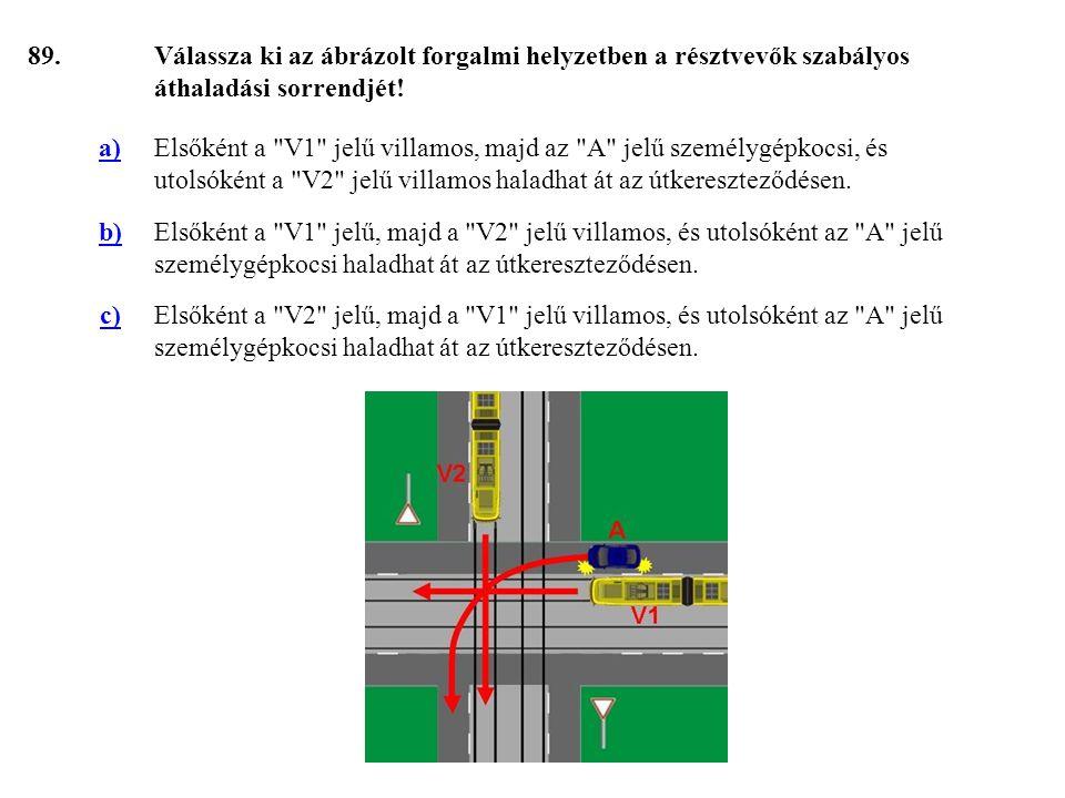 89. Válassza ki az ábrázolt forgalmi helyzetben a résztvevők szabályos áthaladási sorrendjét! a)