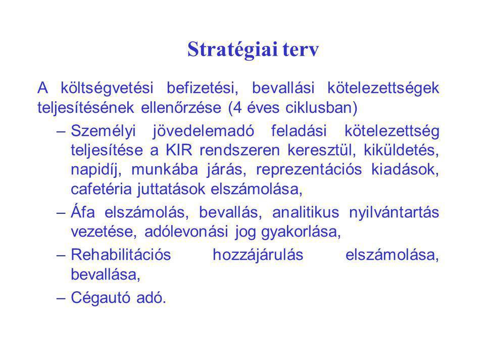 Stratégiai terv A költségvetési befizetési, bevallási kötelezettségek teljesítésének ellenőrzése (4 éves ciklusban)