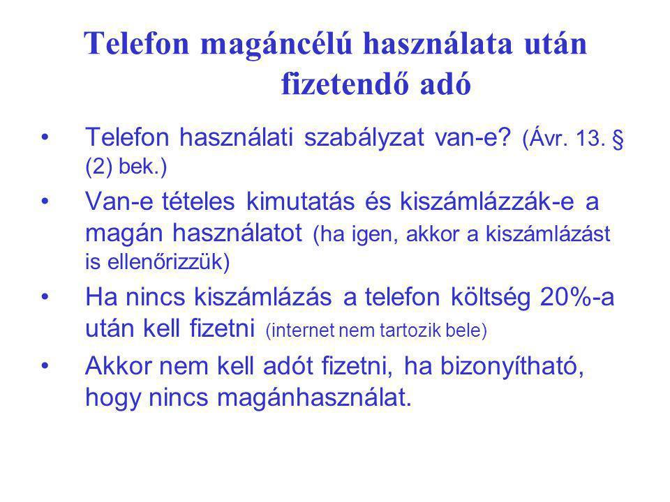 Telefon magáncélú használata után fizetendő adó