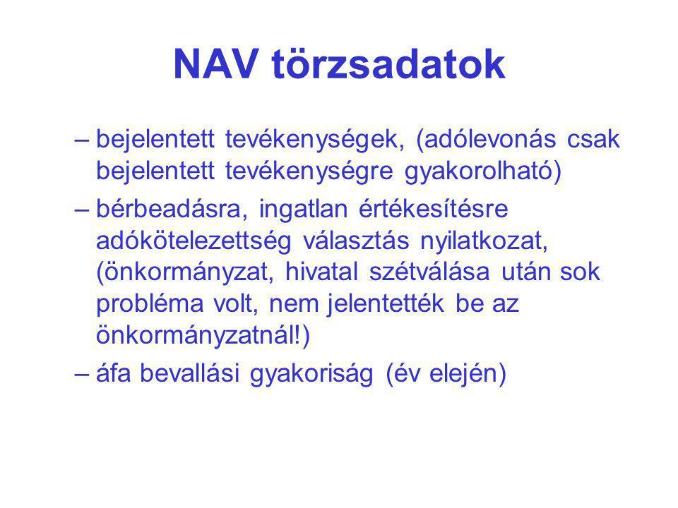 NAV törzsadatok bejelentett tevékenységek, (adólevonás csak bejelentett tevékenységre gyakorolható)