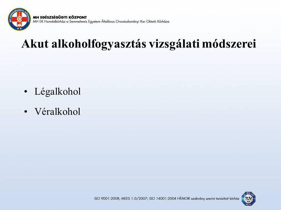 Akut alkoholfogyasztás vizsgálati módszerei