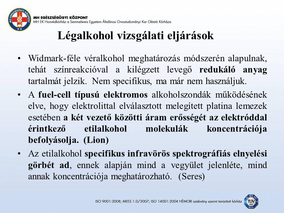 Légalkohol vizsgálati eljárások