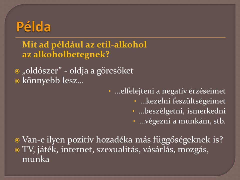 Példa Mit ad például az etil-alkohol az alkoholbetegnek
