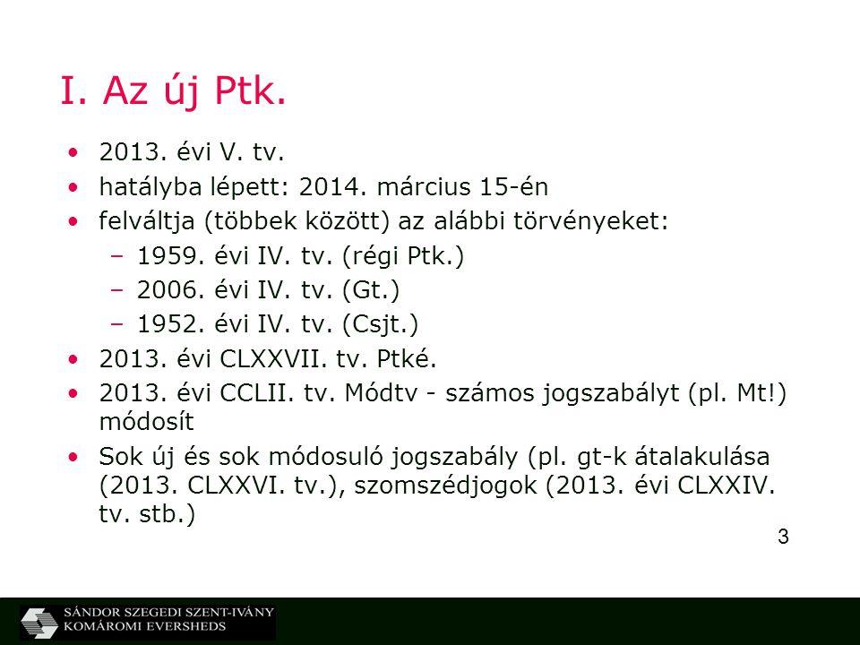 I. Az új Ptk. 2013. évi V. tv. hatályba lépett: 2014. március 15-én