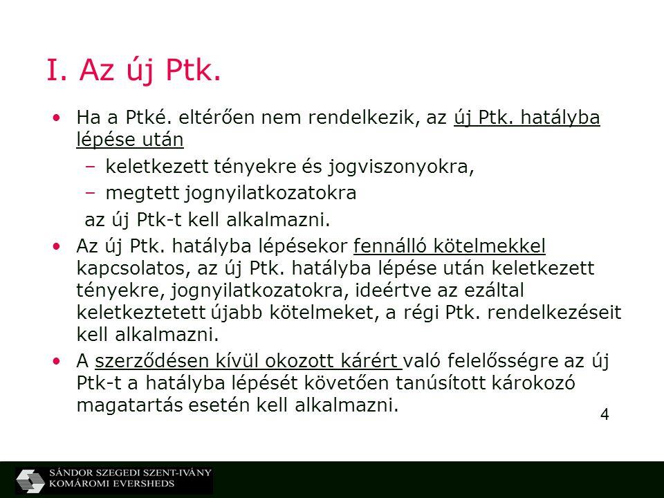 I. Az új Ptk. Ha a Ptké. eltérően nem rendelkezik, az új Ptk. hatályba lépése után. keletkezett tényekre és jogviszonyokra,