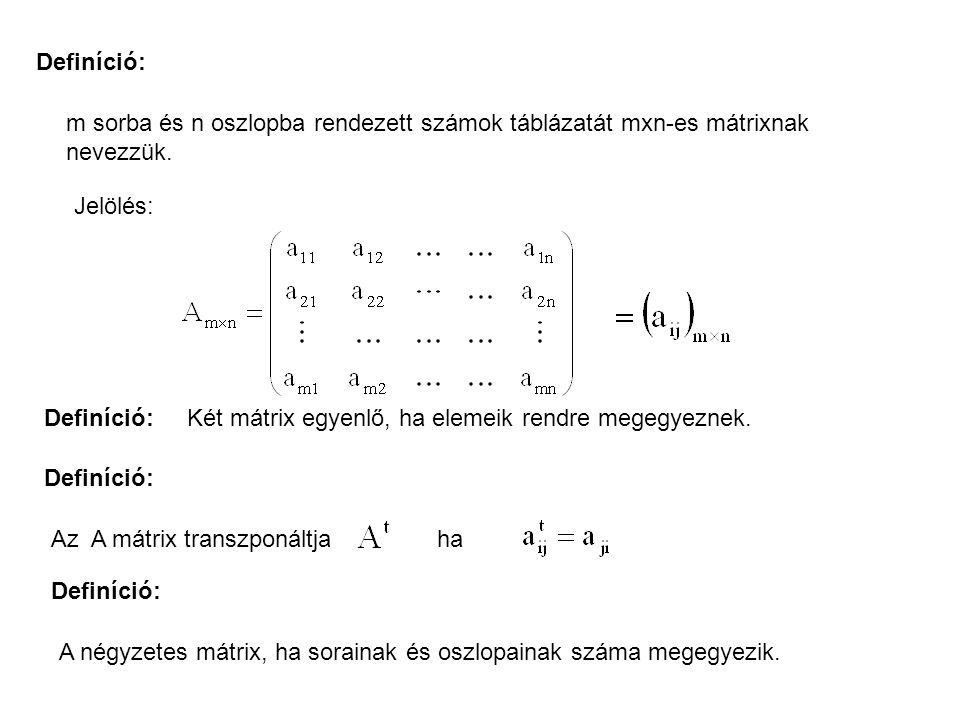 Definíció: m sorba és n oszlopba rendezett számok táblázatát mxn-es mátrixnak nevezzük. Jelölés: Definíció: