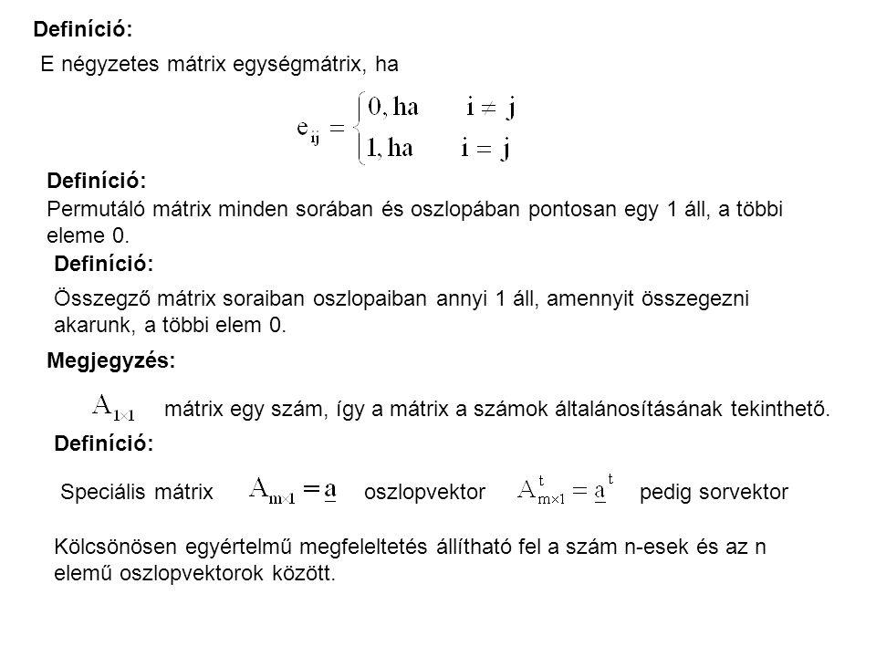 Definíció: E négyzetes mátrix egységmátrix, ha. Definíció: Permutáló mátrix minden sorában és oszlopában pontosan egy 1 áll, a többi eleme 0.