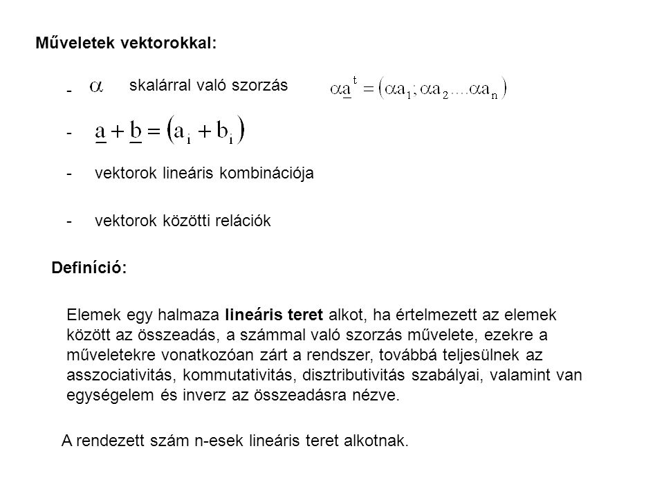 Műveletek vektorokkal: