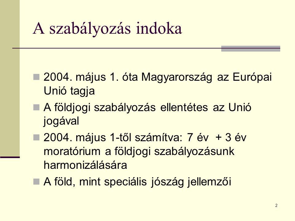 A szabályozás indoka 2004. május 1. óta Magyarország az Európai Unió tagja. A földjogi szabályozás ellentétes az Unió jogával.