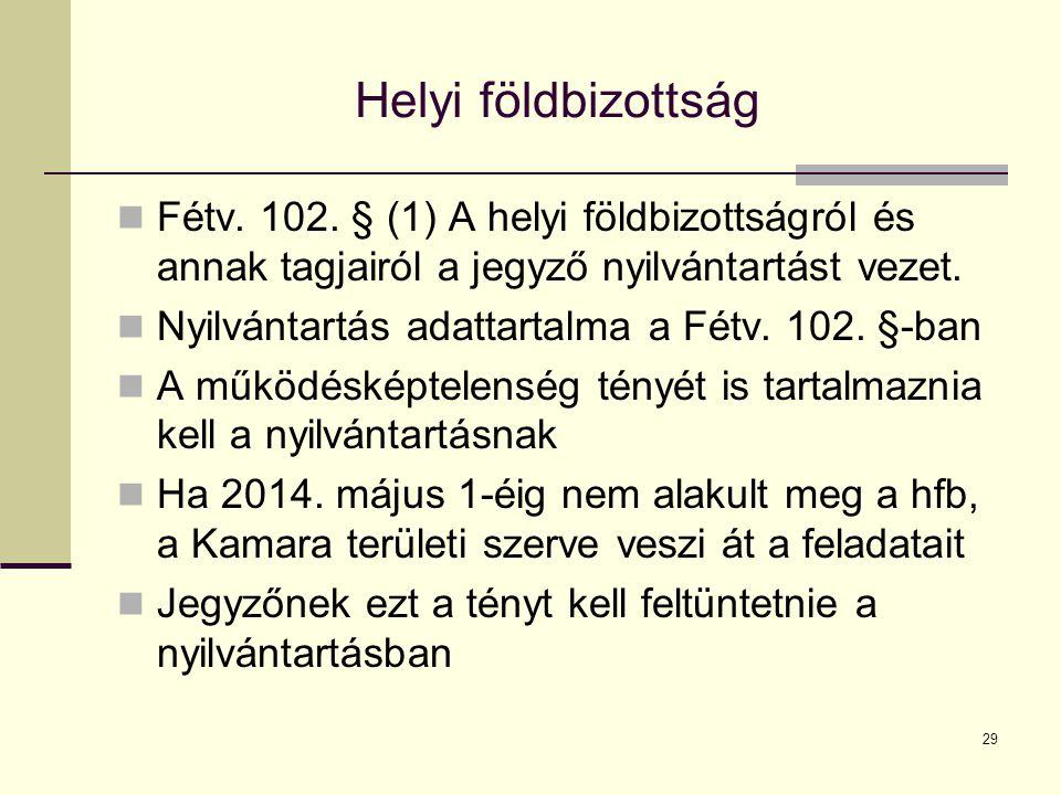 Helyi földbizottság Fétv. 102. § (1) A helyi földbizottságról és annak tagjairól a jegyző nyilvántartást vezet.