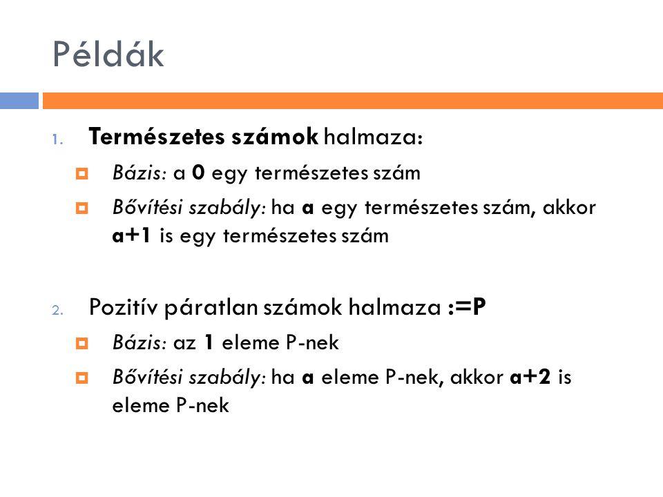 Példák Természetes számok halmaza: Pozitív páratlan számok halmaza :=P