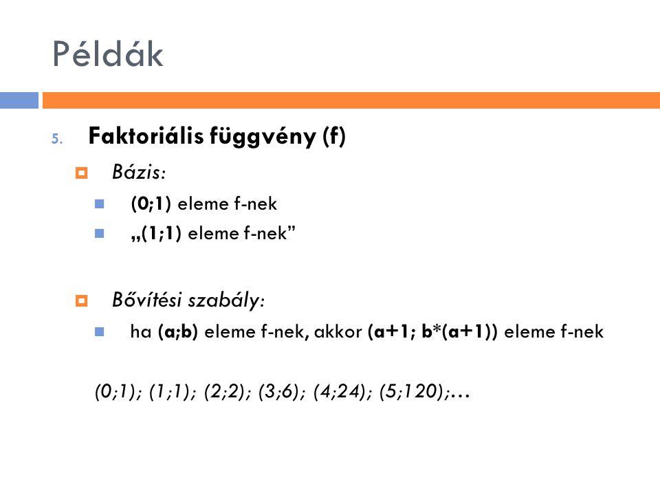 Példák Faktoriális függvény (f) Bázis: Bővítési szabály: