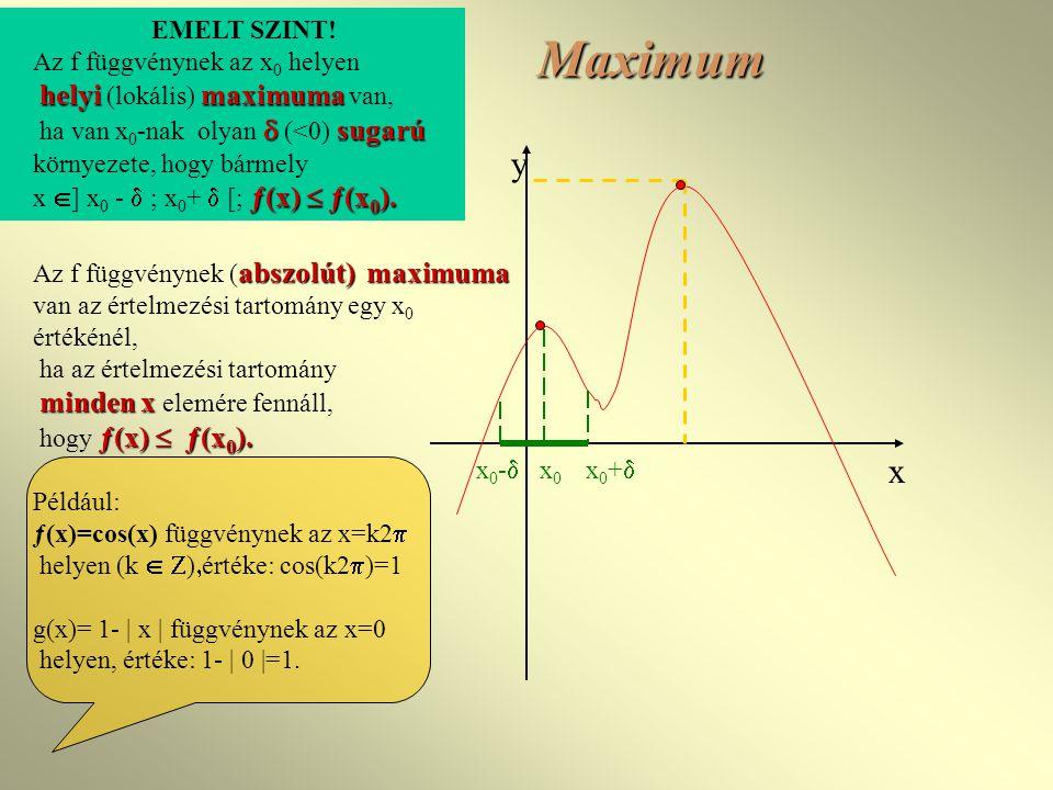 Maximum y x EMELT SZINT! Az f függvénynek az x0 helyen