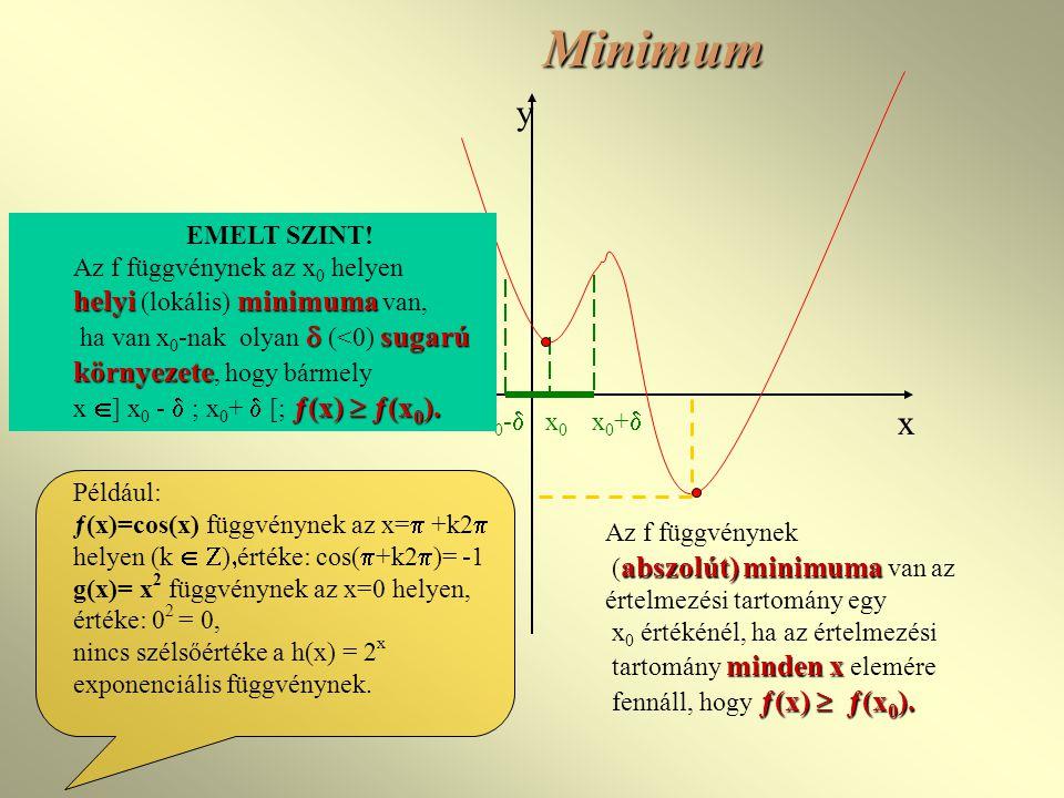 Minimum y x helyi (lokális) minimuma van, EMELT SZINT!