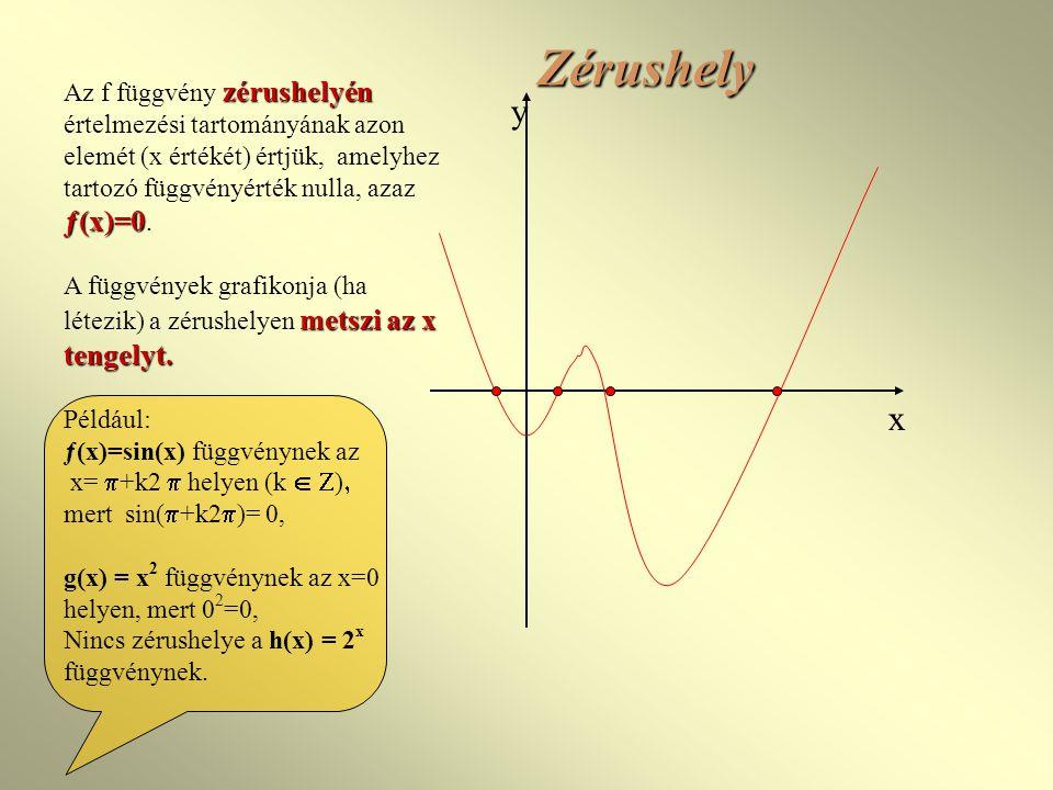 Zérushely Az f függvény zérushelyén értelmezési tartományának azon elemét (x értékét) értjük, amelyhez tartozó függvényérték nulla, azaz ƒ(x)=0.