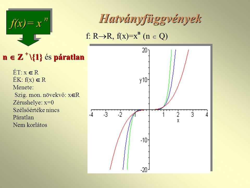 Hatványfüggvények f(x)= x n f: RR, f(x)=xn (n  Q)