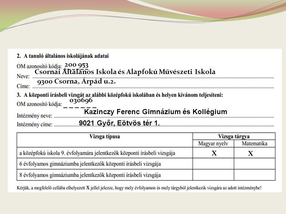 200 953 Csornai Általános Iskola és Alapfokú Művészeti Iskola. 9300 Csorna, Árpád u.2. 030696. Kazinczy Ferenc Gimnázium és Kollégium.
