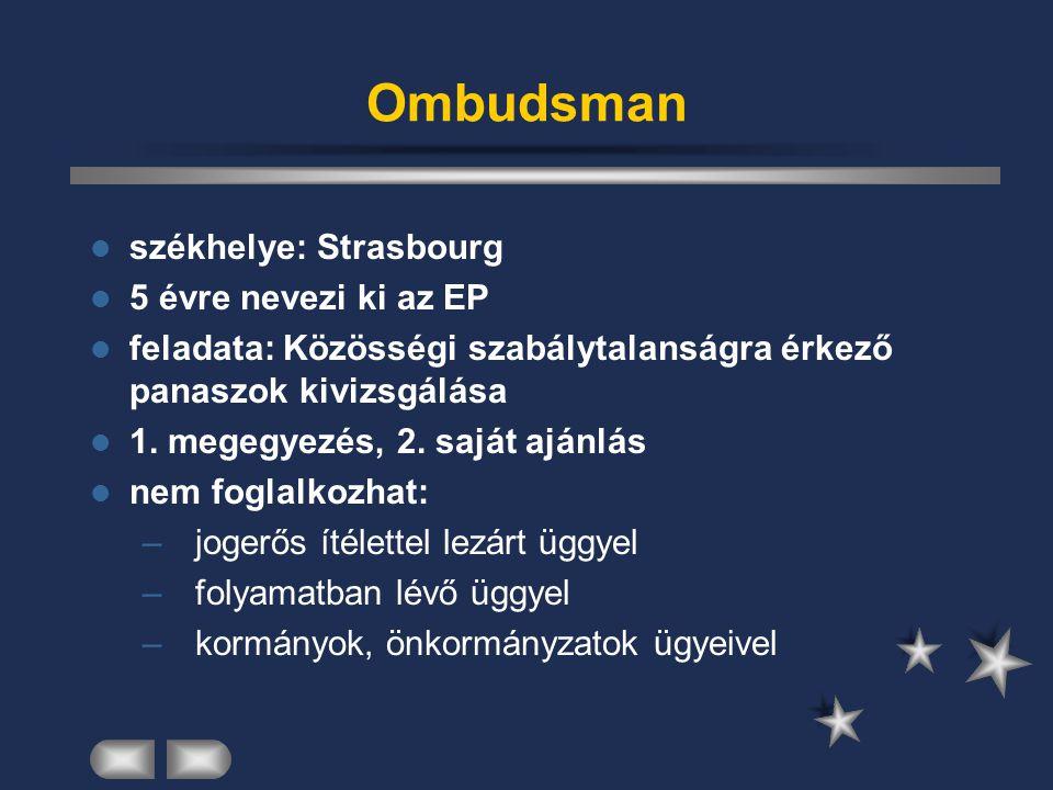 Ombudsman székhelye: Strasbourg 5 évre nevezi ki az EP