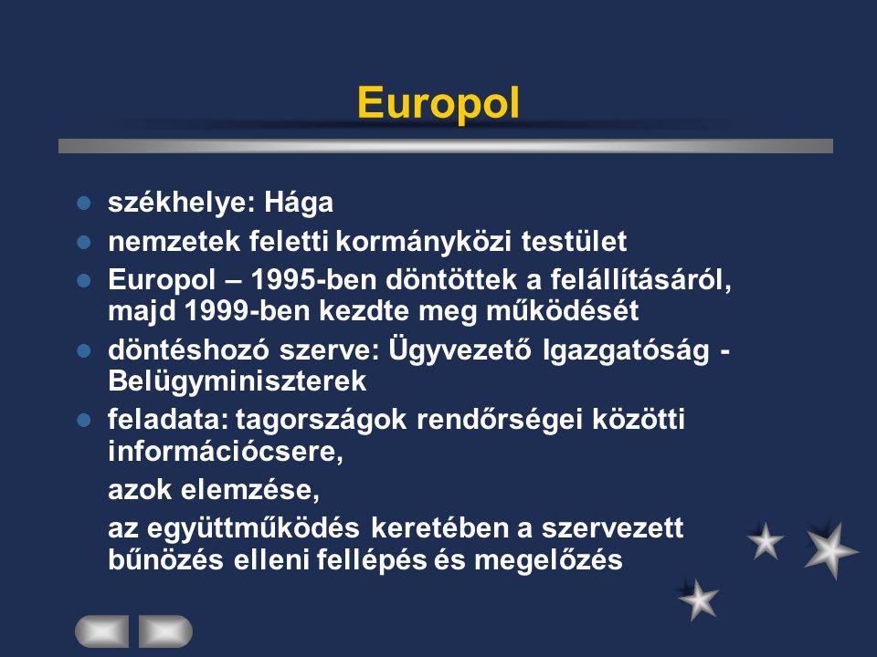 Europol székhelye: Hága nemzetek feletti kormányközi testület