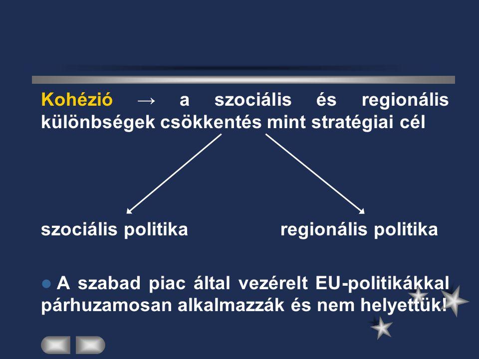 Kohézió → a szociális és regionális különbségek csökkentés mint stratégiai cél
