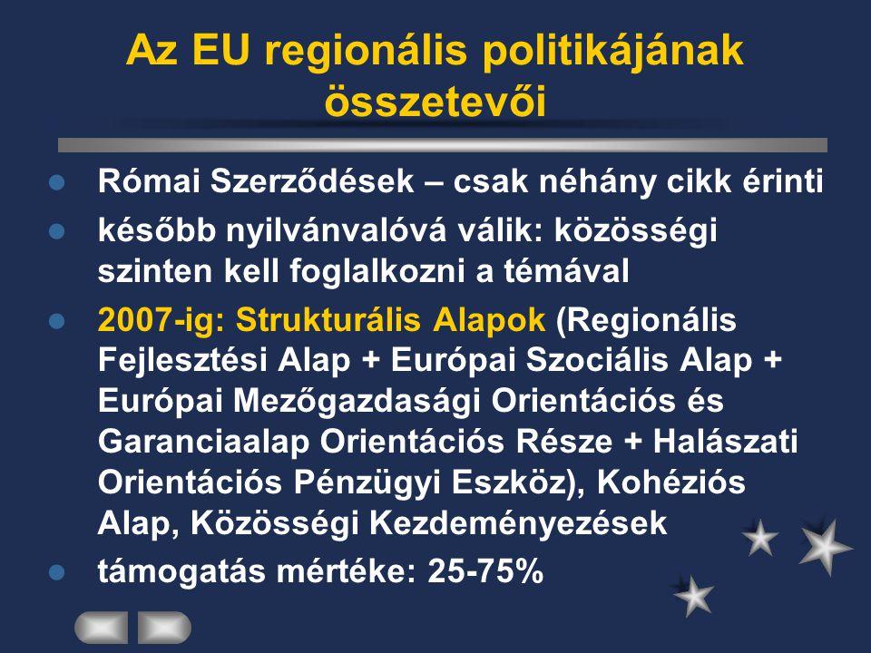 Az EU regionális politikájának összetevői