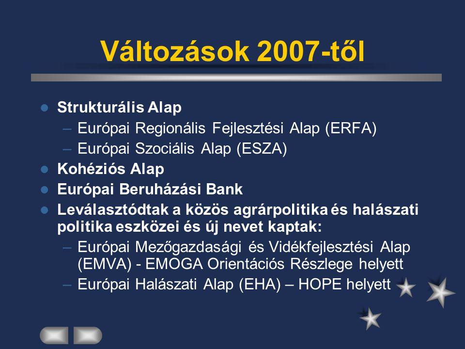 Változások 2007-től Strukturális Alap