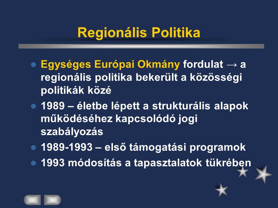 Regionális Politika Egységes Európai Okmány fordulat → a regionális politika bekerült a közösségi politikák közé.